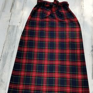 Vintage 70s Plaid Union Label Belted Maxi Skirt
